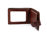 brown leather wallet with a blank space for credit poster