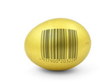 golden egg with fake bar code poster