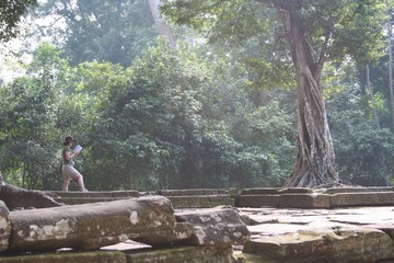 tourist at ta prohm temple