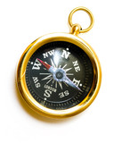 old style brass compass on white background poster
