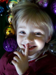 mischievous christmas girl smiling