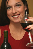 gorgeous woman drinking red wine poster