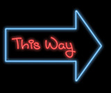 neon signboard - this way poster
