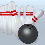 bowling ball hit pins poster