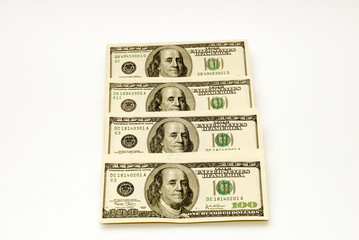 american dollars in different views