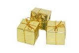 Fototapety trois paquets cadeaux dorés