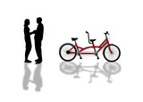 girl and boy on a bicycle picnic silhouettes poster