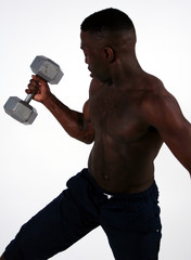 black man working out.