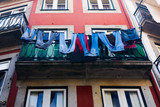 jeans dried on a balcony poster