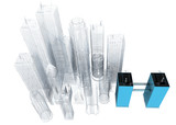 three dimensional blue print of corporate building poster