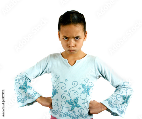 a young girl expressing disagreement