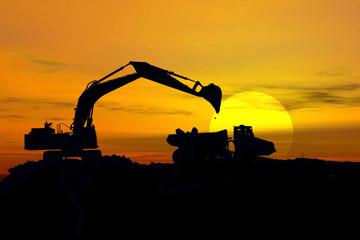 excavator in storm