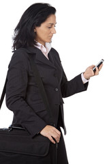 woman of businesses sending a message with the telephone