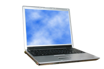 isolated laptop with sky on its screen