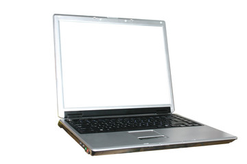isolated laptop with white screen
