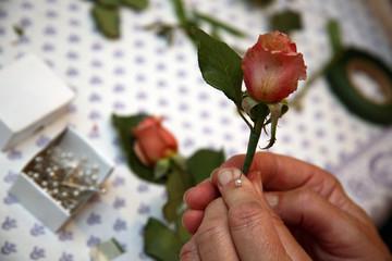 pinning flowers