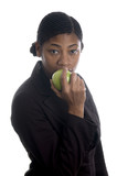 pretty black woman eating apple poster