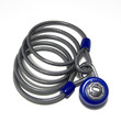 blue combination lock and coiled cable