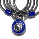 blue combination lock and cable closeup poster