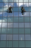 two glass window cleaners poster