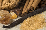 vanilla, cinnamon sticks and other spices and ingr poster