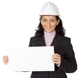 attractive young person architect with a billboard in the hands poster