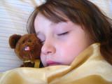 fast asleep with teddy bear poster