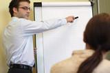 man explaining an idea on flip chart to woman poster