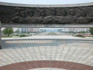monument to the labour korean party in pyongyang