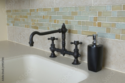 Tuinposter Fontaine custom bathroom with tile work