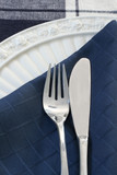 knife, fork, plate and napkin poster