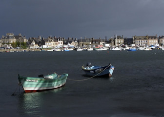 boats in barfleur france in normandy