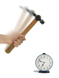 alarm clock and hammer in hand poster