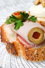 ham and olive canape