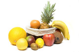 full box of fruits isolated on white poster