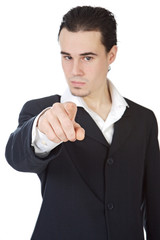 attractive young person businessman indicating with the finger,