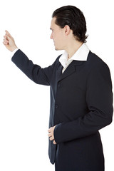attractive young person businessman indicating with the finger