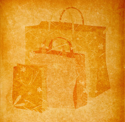shopping bags on vintage paper