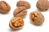 walnuts against white background poster