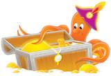 Fototapety octopus and treasure