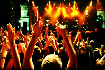 crowd in motion blur