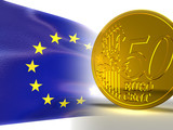 euro flag and 50 cents 3d render