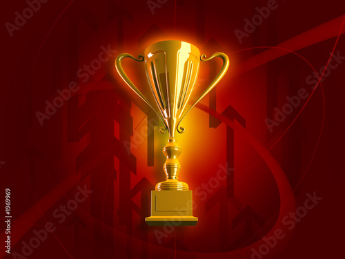 winning gold trophy 3d render