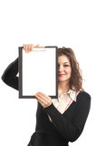 businesswoman with clipboard poster