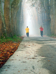 couple jogging in logn alley