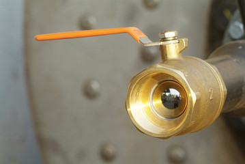 ball valve with orange handle