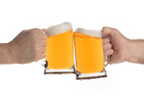 two people making a toast with beer mugs poster