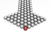 directional marker made of spheres. 3d image poster