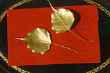 myanmar, mandalay: handicraft, golden leaves poster