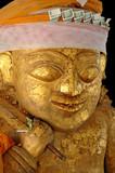 myanmar, bagan: statue in a pagoda poster